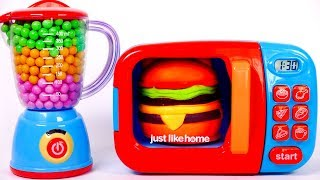 Making Play Doh Hamburger and Cooking it in a Toy Microwave
