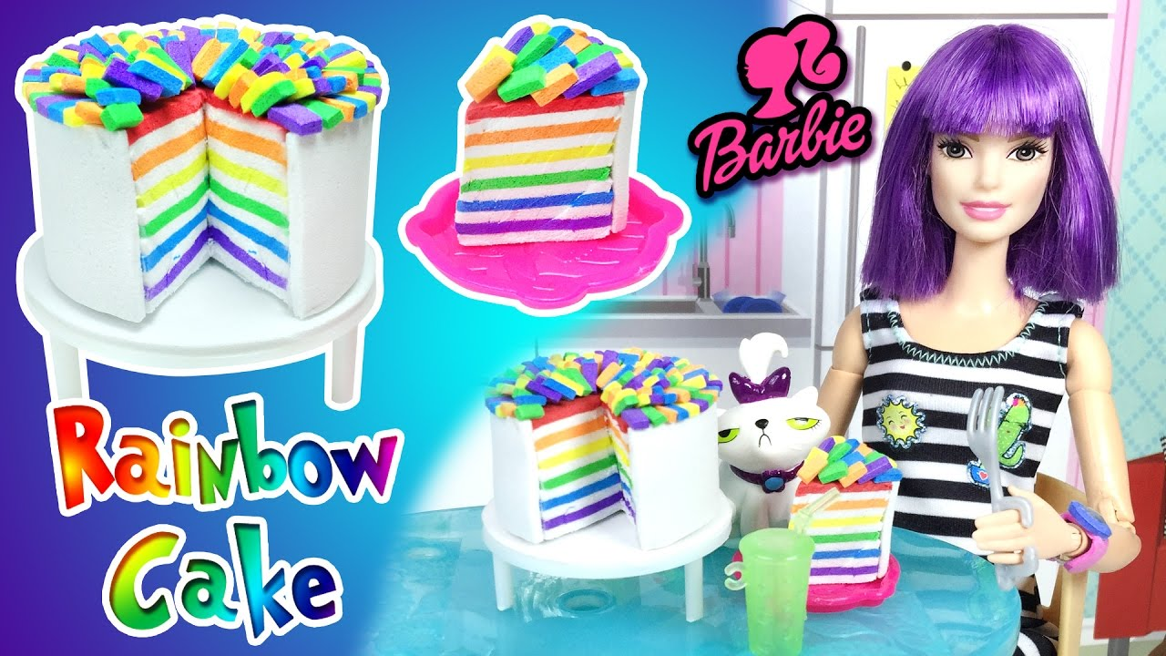 How to make rainbow cake for barbie doll diy easy doll for Toys r us crafts