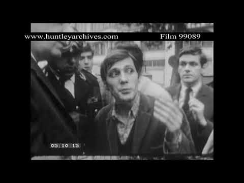 Protests in Paris in May 1968.  Archive film 99089