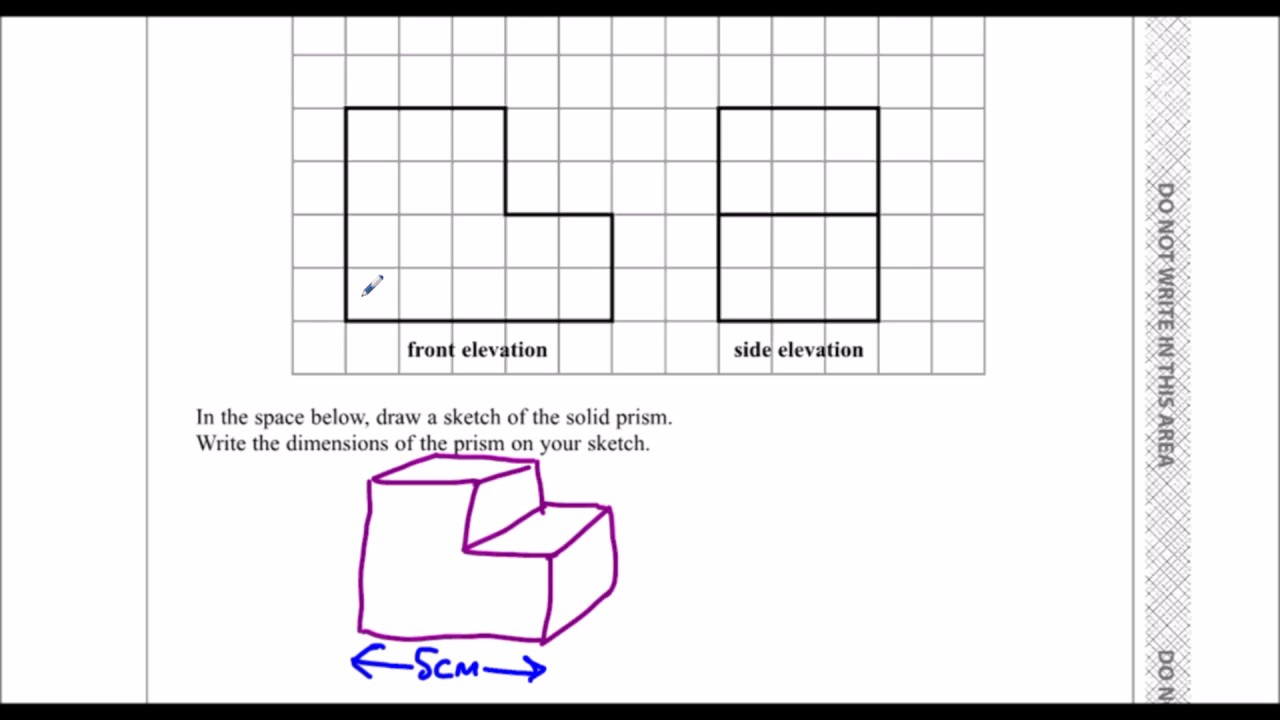Front Elevation Of A Prism : Edexcel sample paper h f question drawing solids