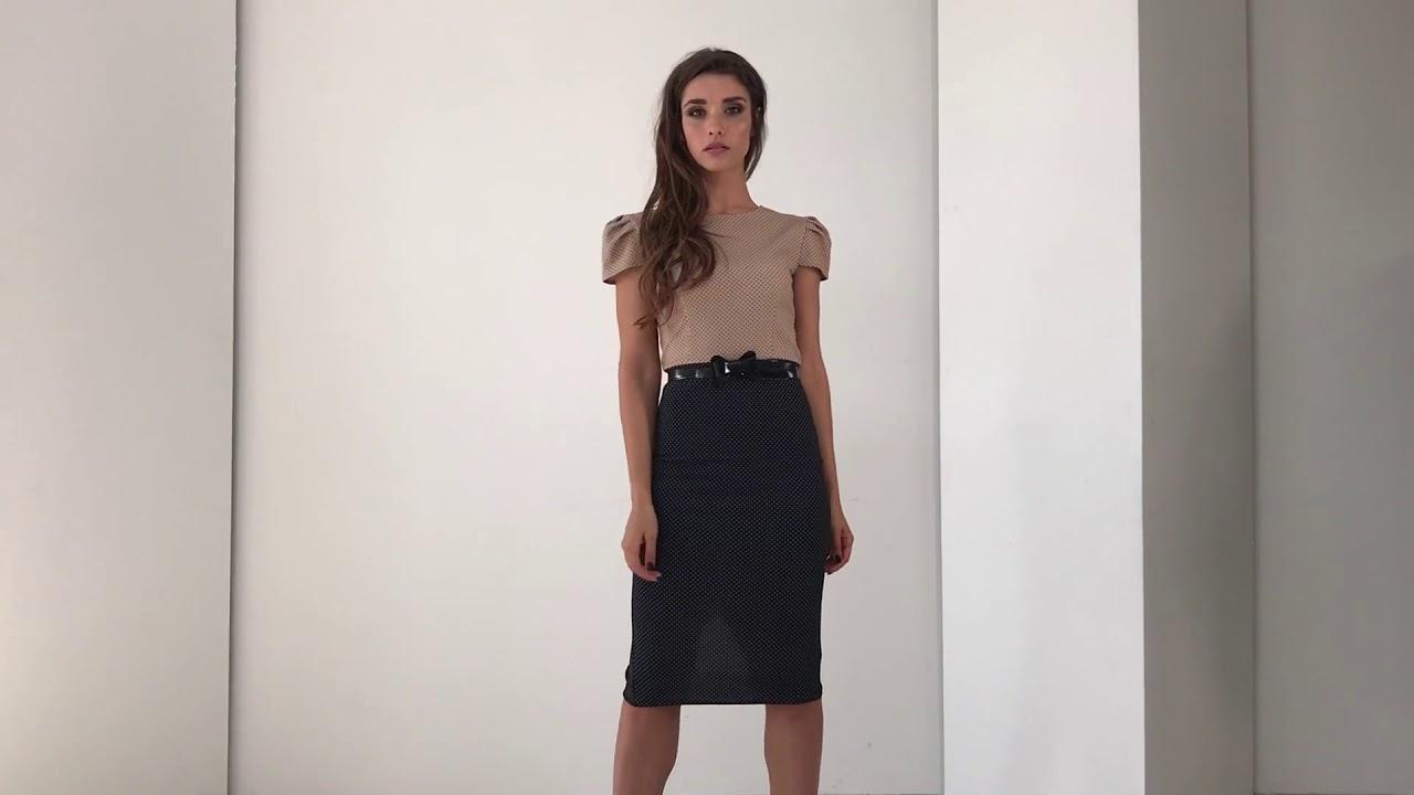 0637 Короткое платье в горошек с пышной юбкой (