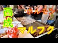 【大阪】【西成】【立ち飲み】「ホルモン マルフク本店」ホルモン、キモ、チャンジャ、豚トロ【4K】 Japanese Food Grilled Horumon Osaka