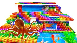 DIY - Build Amazing Modern Mansion Swimming Pool For Octopus From Magnetic Balls (Satisfying)