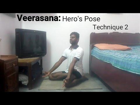 veerasana hero's pose technique 2  hatha yoga  yogasana