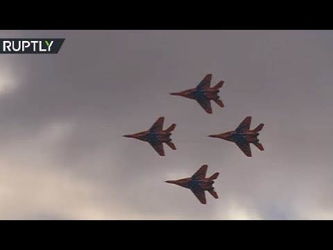Russia's Strizhi aerobatic team perform at air show over Kazan