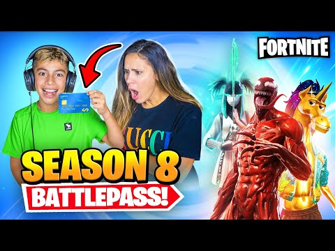 BUYING Fortnite SEASON 8 BattlePass With MOM'S CREDIT CARD!! | Royalty Gaming