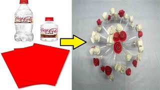 GULDASTA    New Design Rose Flower Creation    Waste Plastic Bottle and Red Paper   DIY Art
