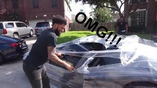 WE SARAN WRAPPED CHRIS CAR!! PRANK (Watch Until The End)