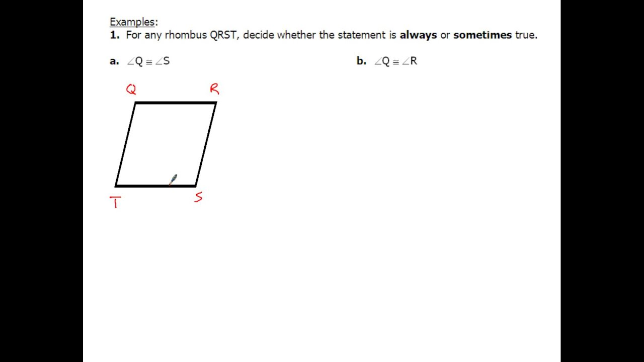 8 4 Rhombus Rectangle Square Definitions Properties