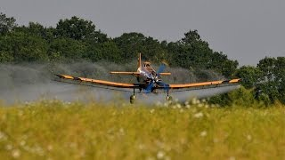 PZL-Mielec M-18 Dromader spraying late colza near Battonya, Hungary