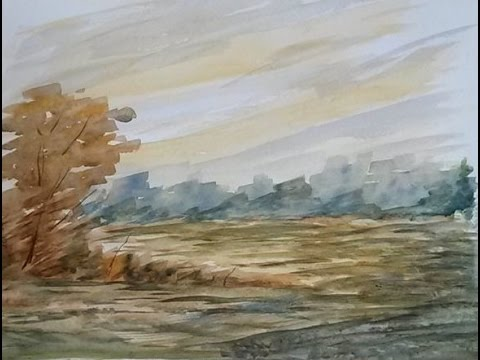 "Painting Lesson: Watercolor Autumn Landscape, ""Autumn Morning"""
