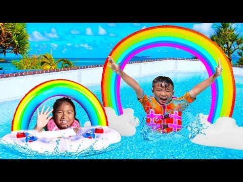 Wendy Pretend Play With Giant Rainbow Swimming Pool Water Inflatable Kids Toys