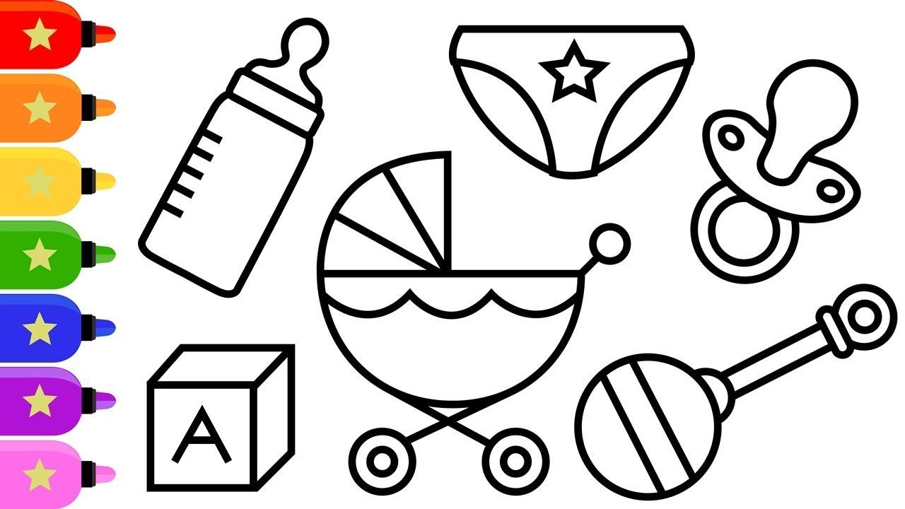 Baby Things Drawing And Coloring For Kids Cara Menggambar Dan Mewarnai Barang Barang Bayi