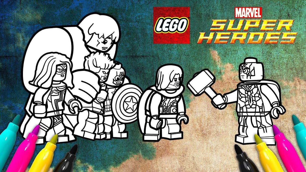 LEGO Superheroes 2 Avengers Coloring Page | Marvel Movie Scene - YouTube