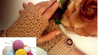 Вязание для начинающих. Вязанные  перчатки без пальцев( Митенки)