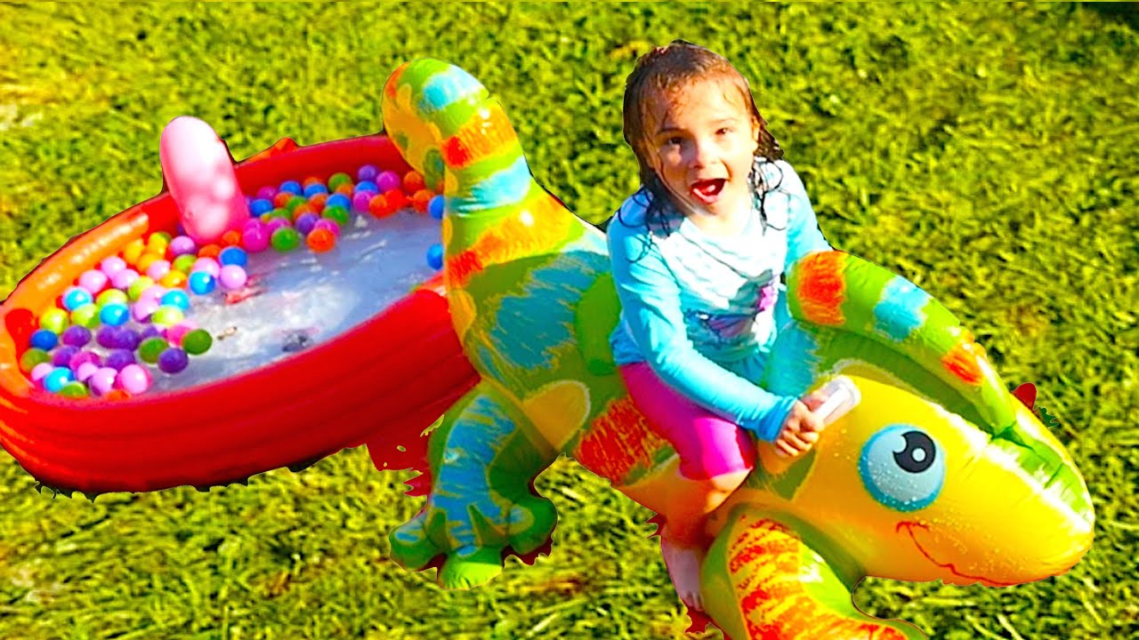 Inflatable Water Slide Challenge Funny And Huge Toys For