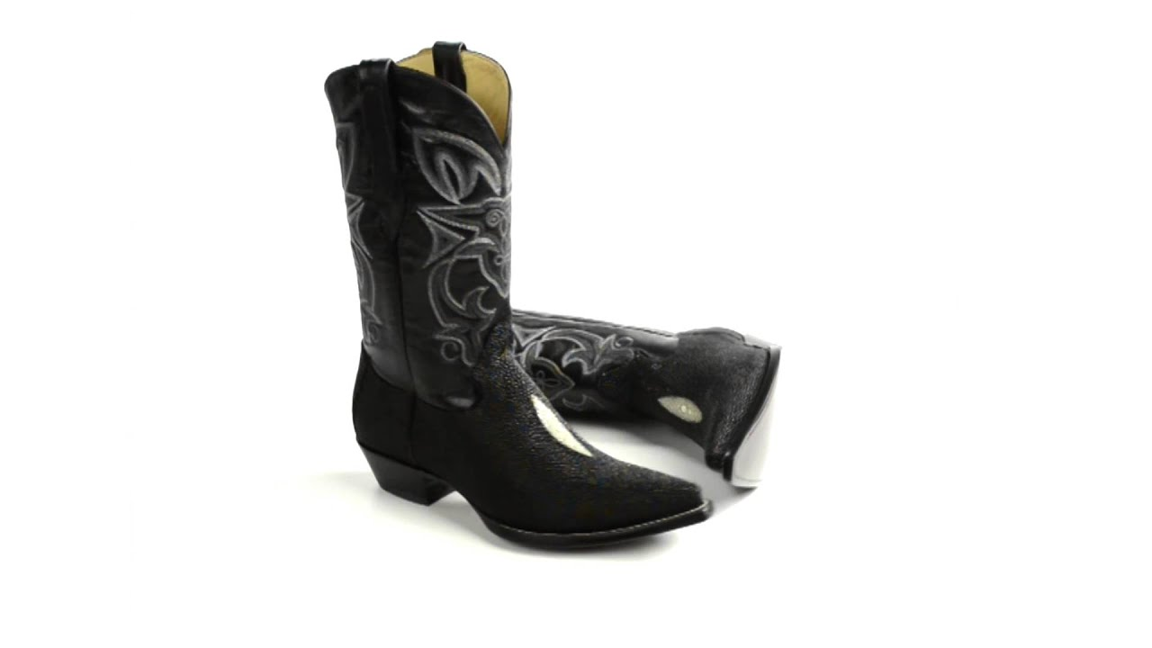 Corral Boots Stingray Skin Cowboy Boots - Snip Toe (For Men) - YouTube