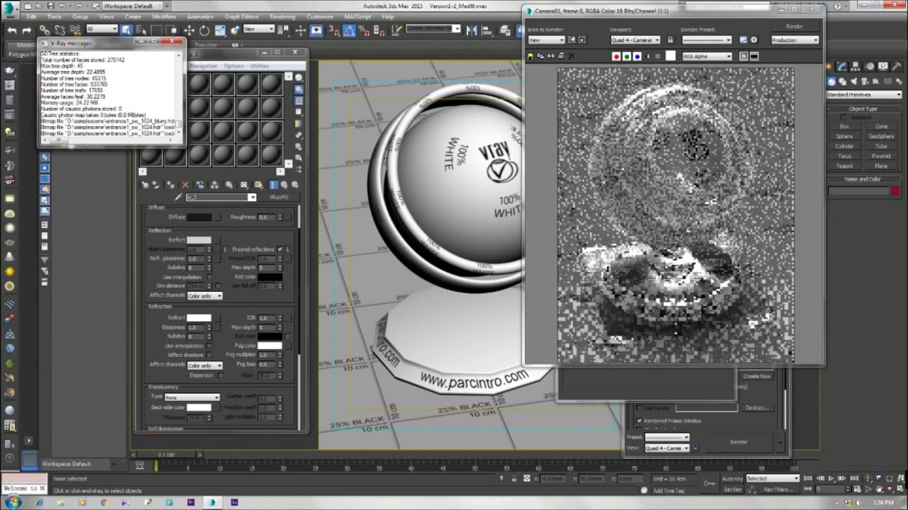 3ds max vray 3 realistic glass material for 3ds max for Mirror vray material