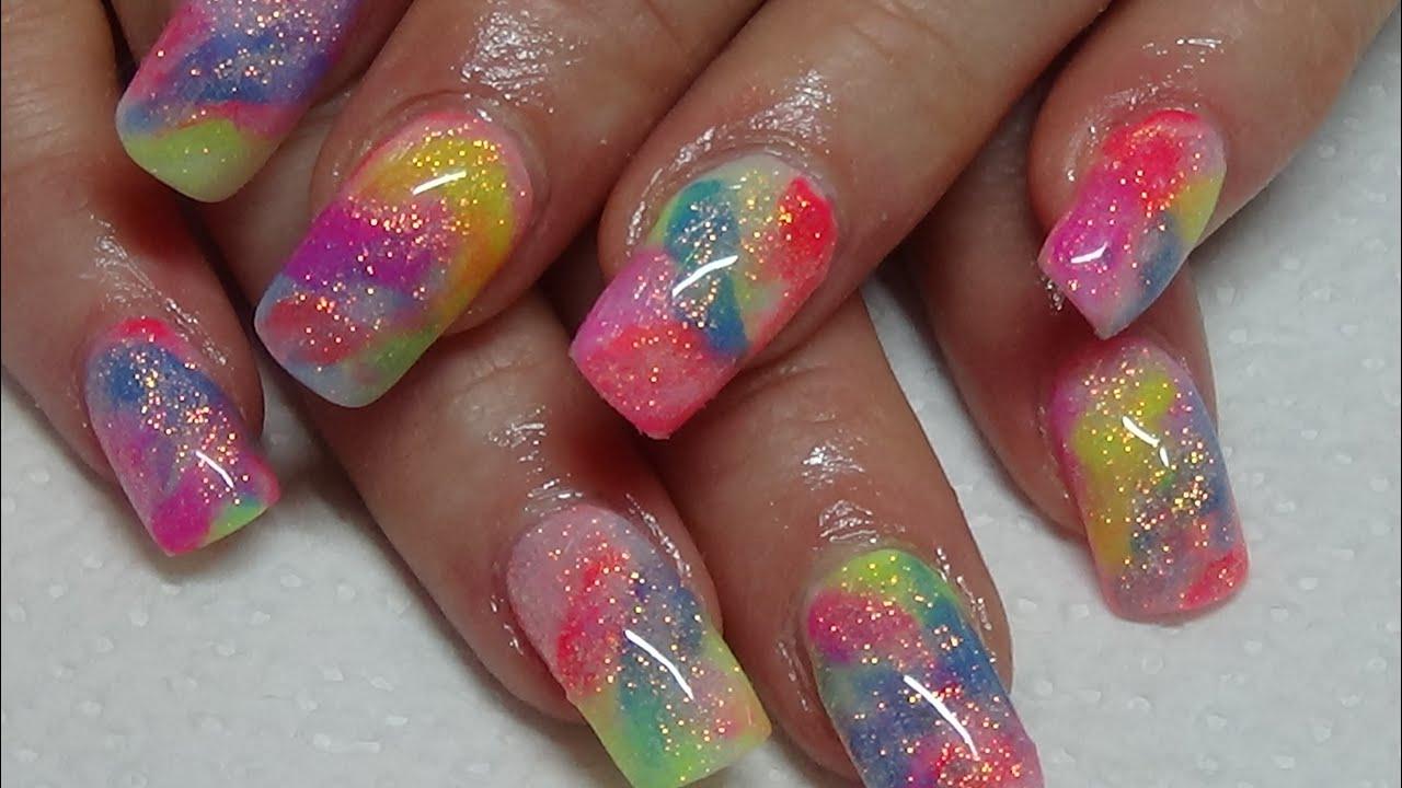 Funky Tie Dye Acrylic Nails