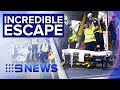 See the moment a drunk man falls in front of a train | Nine News Australia