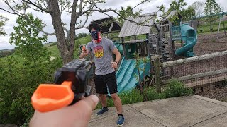 First Person Nerf War: Scout vs Spy