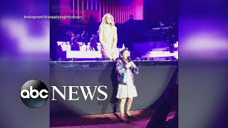 Young Celine Dion fan sings at Las Vegas show l GMA