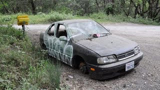 OFFICER THINKS HE FOUND ABANDONED CAR WHEN HE SHINES HIS LIGHT HE QUICKLY TAKES ACTION