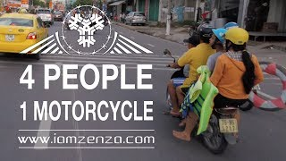 4 People on Motorcycle. Unbelievable Vietnam ! thumbnail