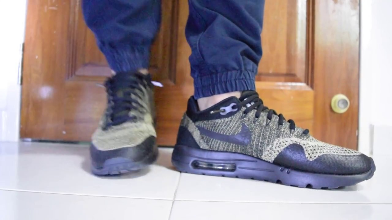 Nike Air Max 1 Ultra Flyknit (Neutral Olive Black) On Feet