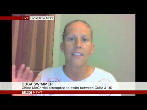 Swimmer Chloe McCardel describes the pain of being stung by jelly fish