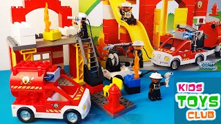 LEGO Duplo Fire Station 6168 - 4 Variants of Building, Unboxing Review with flashing fire truck