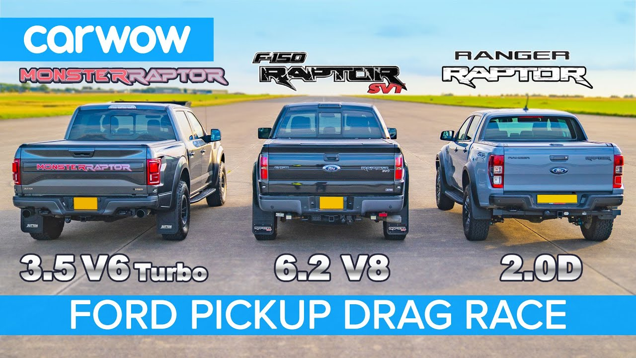 Ford F150 Raptor V6 Turbo vs F150 Raptor V8 SVT vs Ranger Raptor diesel - DRAG RACE & ROLLING RACE