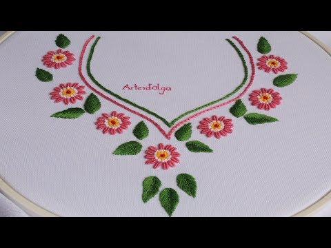 Hand Embroidery Design For Neck: Bullion Stitch Daisy Flowers | Artesd'Olga