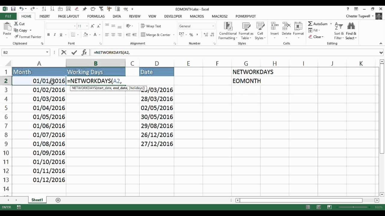 How to calculate number of days from a particular date in excel