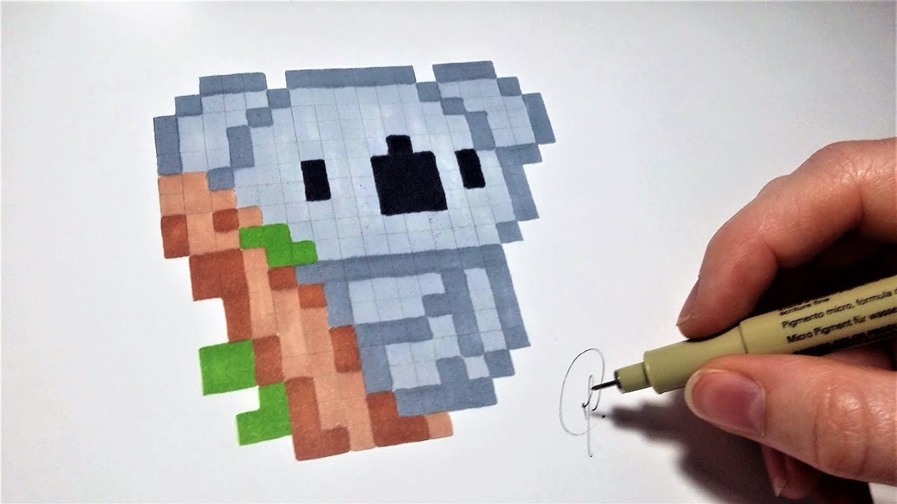 Dessin Koala - Pixel Art (Facile) - YouTube