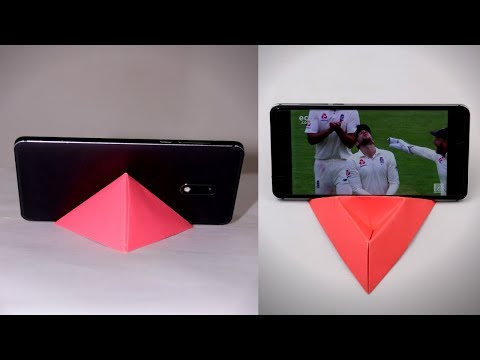 Homemade Mobile Stand Using Color Paper || DIY Origami Phone Holder