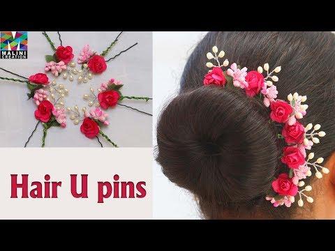 DIY/ pink flower pollen U pins