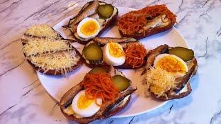 Гренки со Шпротами / Бутерброды со шпротами / Toast With Sprats / Простая Праздничная Закуска
