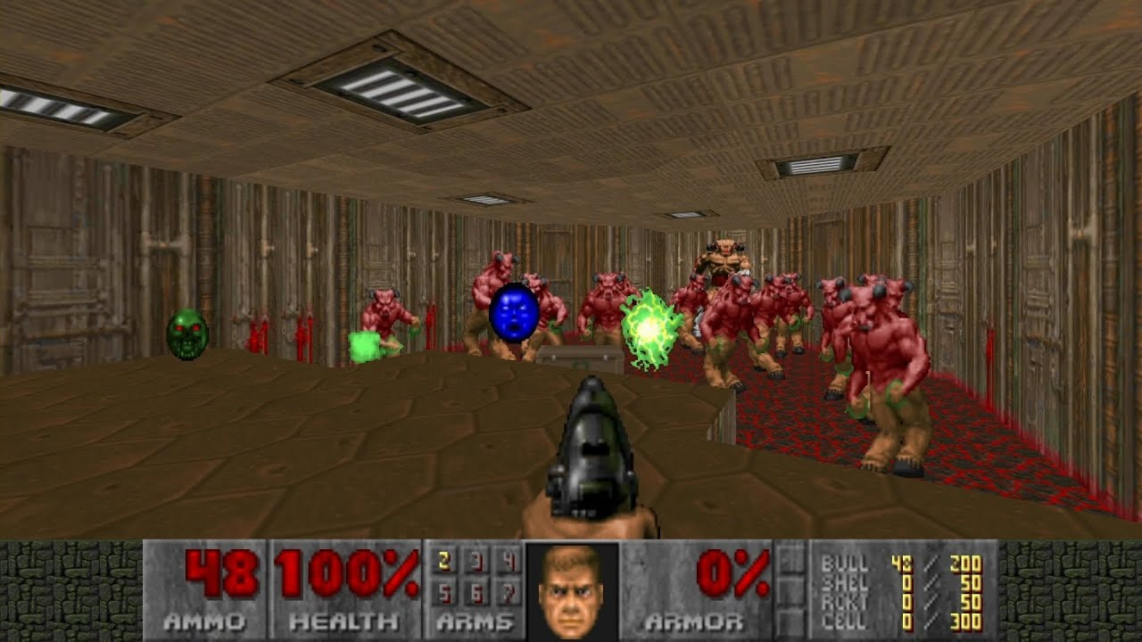 Doom 2 screen cap; violent media in video games