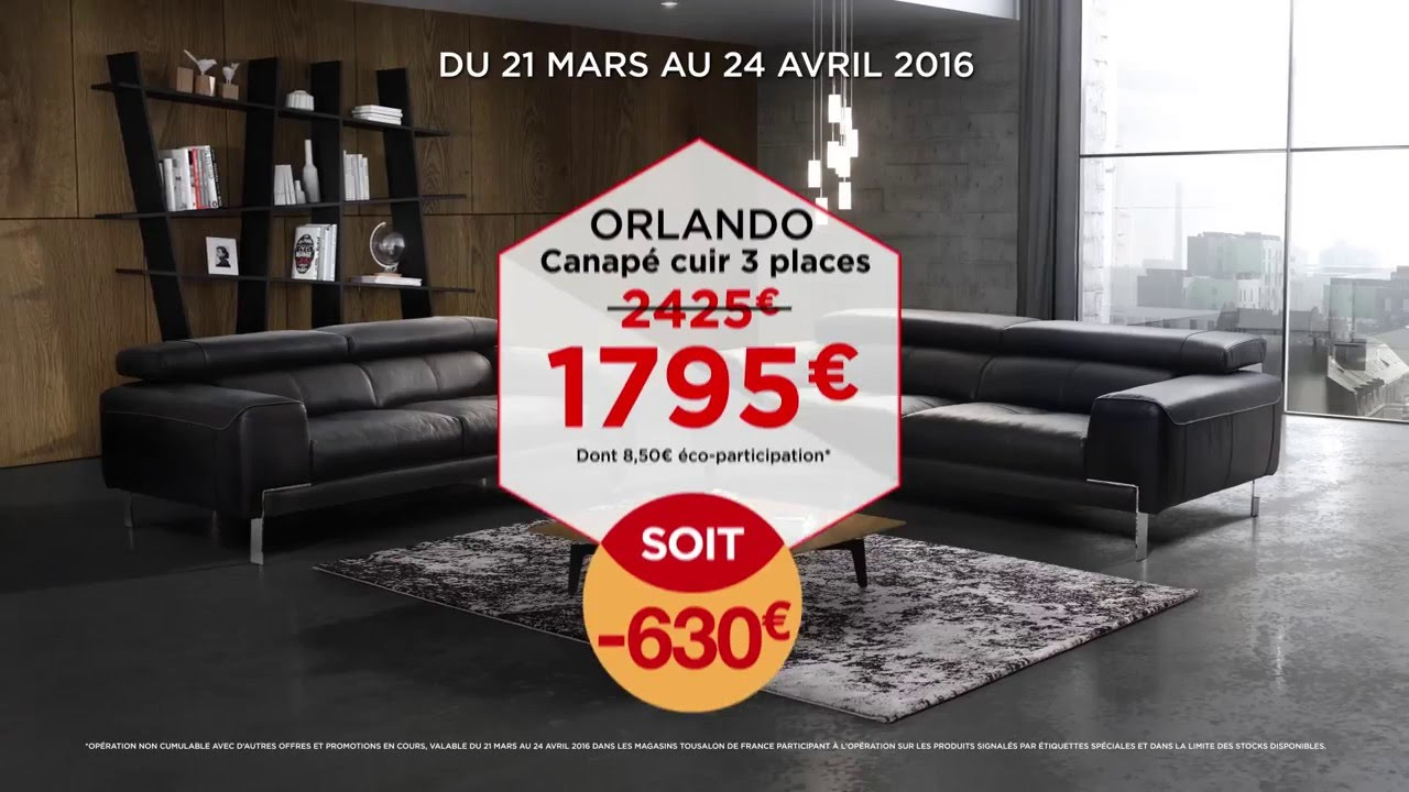 tousalon orlando canap cuir youtube. Black Bedroom Furniture Sets. Home Design Ideas