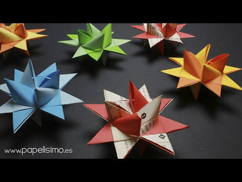 Estrella de papel 3d froebel paper stars la estrella for Adornos navidenos origami paso a paso