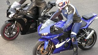 The best street bikes drag racing,R6 vs CBR 1000RR,Kawasaki Ninja and Kawasaki vs Hayabusa.
