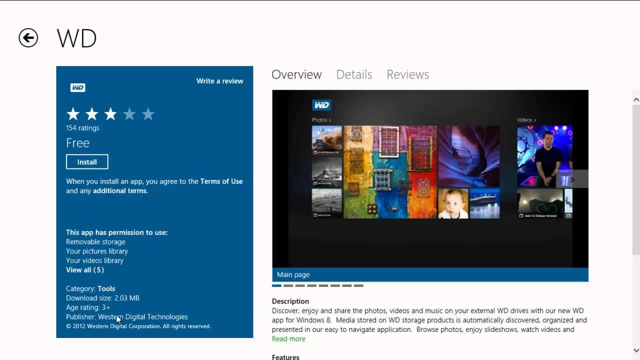 Western Digital App for Windows 8 PC