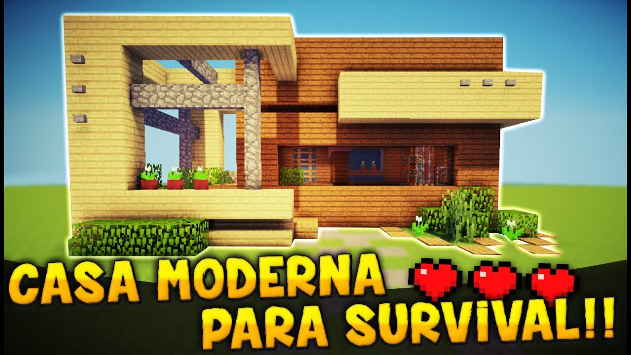 Minecraft como hacer una casa moderna para survival tutorial casa youtube for Casas modernas para construir
