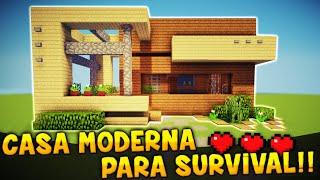 MINECRAFT: COMO HACER UNA CASA MODERNA PARA SURVIVAL!! | TUTORIAL CASA