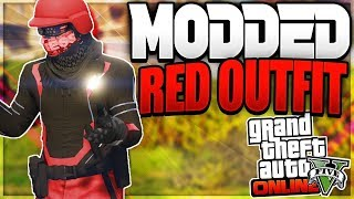 GTA 5 ONLINE (DOPE RED AND WHIT MODDED OUTFIT)