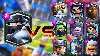 Mega Cavaleiro vs Todas as cartas do Clash Royale |Mega Cavaleiro 1 vs 1 Gameplay