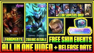 Free Skin Event, Rare Skin Fragments,  Zodiac Resale & All Upcoming  in Mobile Legends