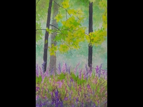 Watercolor Painting || Forest Trees and Flowers