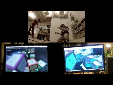 Collaborative VR experiment with multiple Valve/HTC Vive headsets